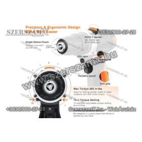 Haina HM6213 Lithium-ION Dupla Akús Fúrógép 18V 2-sebesség Digitális LCD Kijelzővel