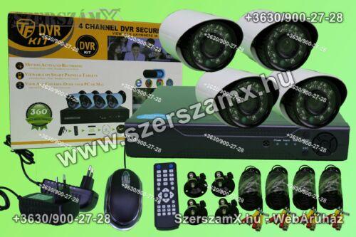 DVR H.264 4 kamerás Online éjjellátó térfigyelő kamera rendszer 320GB - Szerszám Szerszam Szerszámok Szerszamok Barkacs Barkács Fűkasza Láncfűrész Bozótvágó Kertészet Gép Hegesztő Hegesztéstechnika