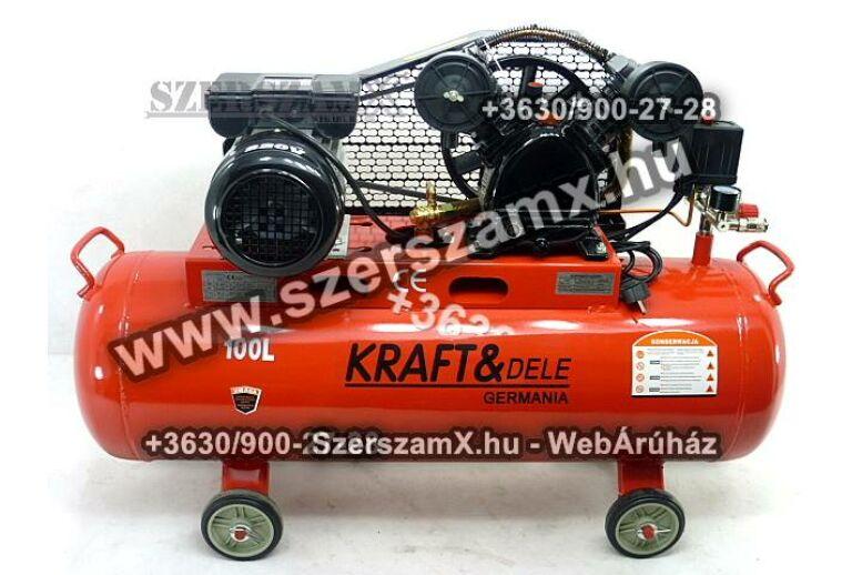 KraftDele KD402 2-Hengeres Kompresszor 100Liter 2800W