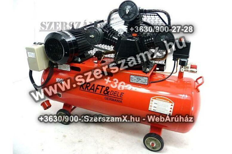 KraftDele KD1477 3-Hengeres Kompresszor 100Liter 4100W