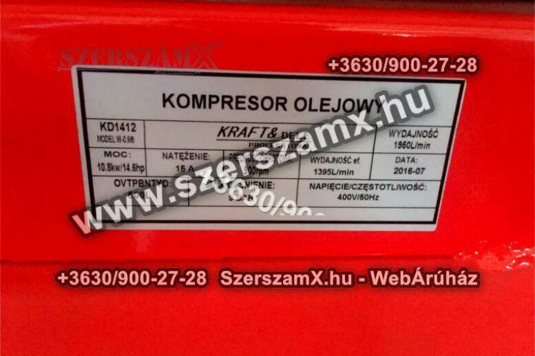KraftDele KD412 3-Hengeres Kompresszor 500Liter 10kW